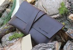 Mens Clutch Bag/ Leather Purse/ Brown by Accessories3Snails