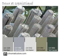 Cette palette de #gris chauds et de #verts crée des ambiances naturelles et sophistiquées à la fois. www.chromaticstore.com