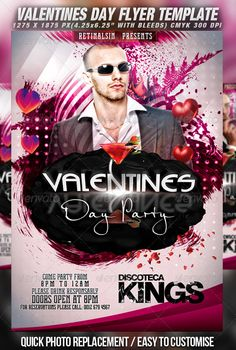 Valentines Day Party Flyer Template v.2 — Photoshop PSD #valentines day poster #party flyer • Available here → https://graphicriver.net/item/valentines-day-party-flyer-template-v2/1270475?ref=pxcr