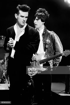 TV SHOW) Photo of Johnny MARR and MORRISSEY and The Smiths, Morrissey and Johnny Marr (holding Fender Stratocaster guitar) posed on set of BBC Oxford Roadshow