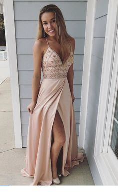 Pink Prom Dress,Sexy Prom Dress,Spaghetti Straps Beaded Long Prom Dress,Sheath Evening Dresses With Slit Side Beige Prom Dresses, A Line Prom Dresses, Cheap Prom Dresses, Women's Dresses, Dance Dresses, Pretty Dresses, Evening Dresses, Beautiful Dresses, Prom Gowns