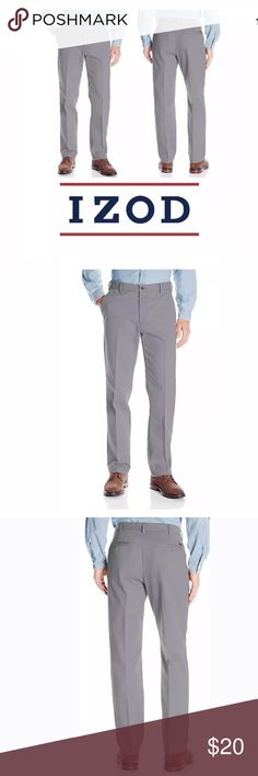 IZOD Mens Stretch Flat Front Chino Pants 32x34 NWT IZOD Mens Stretch Flat Front Chino Pants 32x34 Smoked Pearl Grey Gray  The IZOD performance stretch pant is a classic style that moves with you.  Straight fit Flat front  Non-iron Moisture wicking fabrication keeps you dry by pulling moisture away from body  Sport-flex waistband stretch technology YKK zip fly with button closure  Two front slant pockets Two back pockets with button closure Secure smart phone pocket with YKK zip in right side…