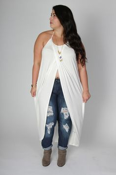 Plus Size Clothing for Women - Long Wrap Halter Top - White (Sizes 14 - 16) *Stretches to size 24* - Society+ - Society Plus - Buy Online Now!