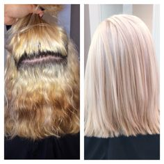 Color correction:  Platinum blonde achieved by using Up to 7 lightener, Blonde Idol Blue Oil lightener, Olaplex and Shades EQ gloss.   09V