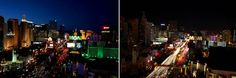 A before-and-after view of the Las Vegas Strip from the top of Tropicana during Earth Hour on Saturday, March 26, 2011.