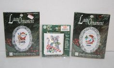 Lot Designs for Needle Lace Ornament Kit Cross Stitch Santa Rudolph Christmas  #DesignsfortheNeedle