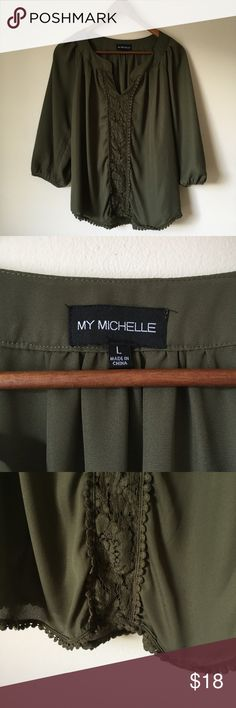 Olive Green My Michelle Pom Pom Blouse Like New Condition • Cute Stylish • 3/4- Long Sleeves My Michelle Tops Blouses