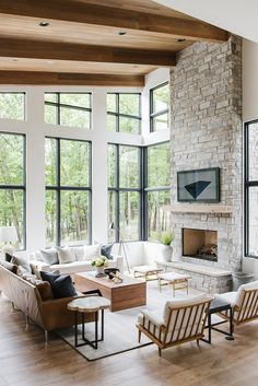 Modern Lake House: Living Room Tour - Everything Studio McGee does is easy .- Modern lake house: living room tour – everything that Studio McGee does is simply perfection! Maybe my favorite house! Living Room Interior, Home Living Room, Living Room Designs, Interior Livingroom, Living Room Layouts, Modern Cabin Interior, High Ceiling Living Room, Living Room With Windows, Room And Board Living Room