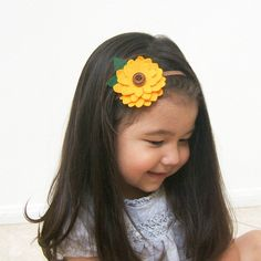 Sunflower Headband, Felt Sunflower Headband, Girls Headband Boho Woodland Yellow Brown Baby Girl Headband Toddler Girls, Handmade