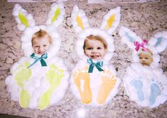 Easter crafts for toddlers! Items you will need: Paper plates Pictures Ribbon Paint Cotton balls Glue gun Make bunny frame first using bowls, cups to make circles. Glue together and add cotton balls then top it off with the bow! (Make sure to glue picture before gluing cotton balls!)