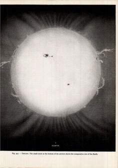 Illustration showing the comparative size of the earth to the sun from the Larousse Encyclopaedia of Astronomy by Lucien Rudaux & Gerard DeVaucouleurs, 1962.