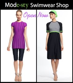 Modest swimsuits from low to full coverage available now in Mode-sty swimwear shop.