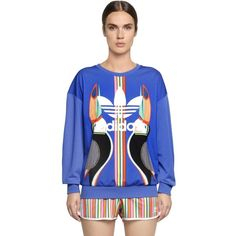 ADIDAS ORIGINALS BY FARM Tukana & Logo Printed Sweatshirt ($78) ❤ liked on Polyvore featuring tops, hoodies, sweatshirts, blue, logo sweatshirts, sweatshirt hoodies, sweat shirts, sweat tops and logo tops