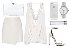 White Party by baludna on Polyvore featuring polyvore, fashion, style, Helmut Lang, Monki, Yves Saint Laurent, Charlotte Olympia, Nixon and Lucky Brand