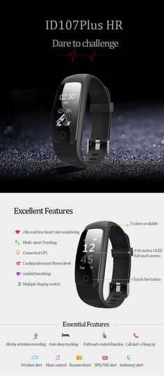 LYNWO ID107 PLUS HR Real Time Heart Rate Monitor Fitness Tracker Smart Band for iPhone 7 Samsung S8 Xiaomi
