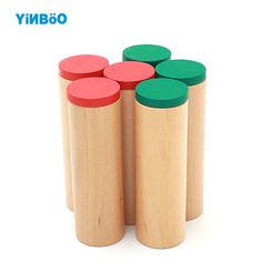 Baby Toy Montessori Sound Boxes for Early Childhood Education Preschool Training Learning Toys Family Version 6 Wooden Cylinders