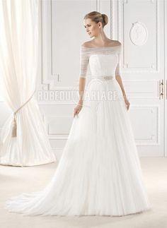 A-ligne robe de mariée 2015 épaule dégagée tulle applique [#ROBE209932] - robedumariage.com