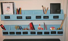numbered cubbies for homeschool room / wall