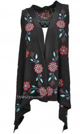 Bella Carra Clothing Heidi Embroidered Vest In Black