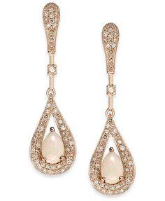 Opal (1/2 ct. t.w.) and Diamond (1/2 ct. t.w.) Teardrop Earrings in 14k Rose Gold