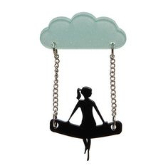A View to a Cloud (Erstwilder Mint and Black Resin Brooch), now available. Hand assembled and hand painted, presented in a branded box.
