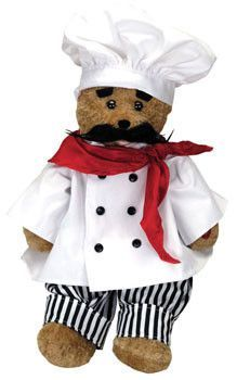 """Alfredo Singing Bear. Alfredo singing bear is handsomely dressed in a chef's outfit. His head sways and his mouth moves while singing """"That's Amore"""". Battery operated."""