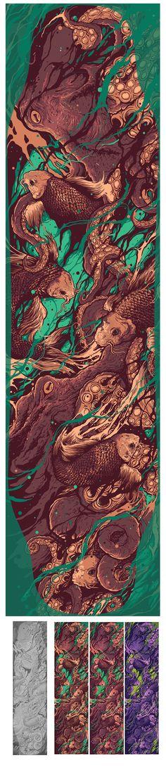 The Koi Octopus Longboard on Behance
