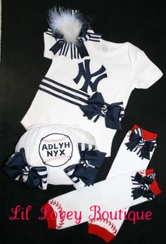 "Batter Up For Baseball Season...Adorable 4PC. Short Sleeve ""Team Spirit"" Onesie/Bloomers/Leg Warmers/Hair Bow For Baby Girl or Toddler. $72.00, via Etsy. Cute idea. Not so much on the price."