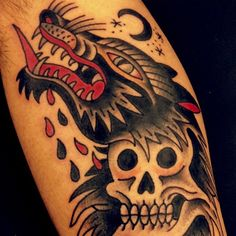 wolf with the red tongue traditional tattoo - Traditional tattoos