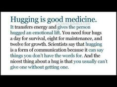 4 hugs to survive, 8 hugs for maintenance, and 12 hugs for growth