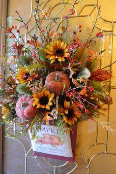 thanksgiving or fall door decor ~ photo inspiration Fall Arrangements, Floral Arrangement, Autumn Wreaths, Wreath Fall, Door Wreath, Autumn Decorating, Decorating Ideas, Arte Floral, Wreath Crafts