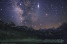"""""""A Night With Sabrina"""" by Wally Pacholka (TWAN) Love this sky! Bright planet Jupiter shines in the foreground of the Milky Way galaxy. Stars in the constellations Scorpius and Sagittarius are framed in this spring night photo from Lake Sabrina in California's Eastern Sierra Nevada mountain range."""