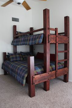 "Custom Twin over Queen Bunk Bed. Shown with 94"" high posts and optional low voltage lighting. Shown in Antique Cabernet finish. #beddesign Kids Bunk Beds, Cabin Bunk Beds, Wood Bunk Beds, Queen Bunk Beds, Bunk Bed Plans, Low Loft Beds, Diy Bed, Custom Bunk Beds, 木工 Diy"