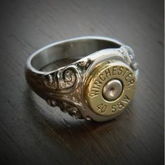 Bullet Jewelry by JECTZ® - Women's Etched Stainless Steel Bullet Ring, $39.95 (http://www.jectz.com/womens-etched-stainless-steel-bullet-ring/)