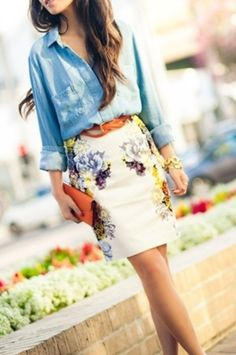 denim shirt, floral skirt with belt and clutch for sure
