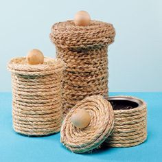 Small Storage Container made with rope and a tin can. So simple and easy!