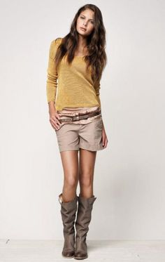 Love the boots & top. Would change shorts for skirt.