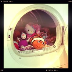 Cuddly toys in the tumble dryer