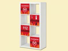 Feuerwehr Kinderzimmer: Feuerwehr Aufkleber-Set passend für das Regal EXPEDIT / KALLAX von IKEA