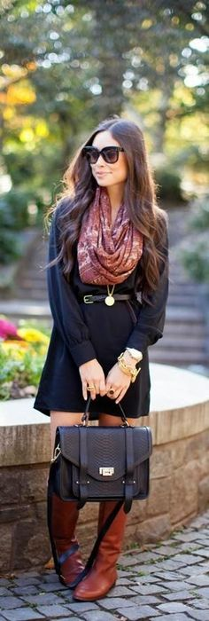 Fall Street Style Fashion - Black sleeve mini dress with printed cute scarf and black leather belt hand bag and brown leather long boots