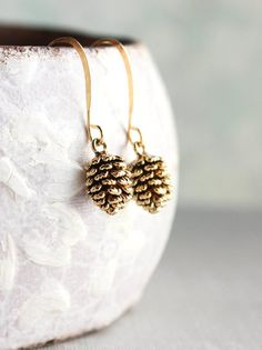Rustic Gold Pinecone Earrings, Pine Cone earrings, Nature Jewellery, Woodland Wedding, Gift for Women, Small Drop Earring, Nickel Free $23.00