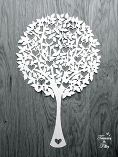 Round Heart Tree Papercutting Template to от TommyandTillyDesign