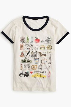 $40 BUY NOW It's hard to sum up New York in a T-shirt, but this one comes pretty close! The vintage-style ringer tee is decked out with the city's most iconic symbols, which have been sketched and hand-painted by J.Crew's own in-house design team.
