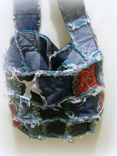 Denim Rag Bag/Rag Bag Purse by bagsbyhags45 on Etsy, $28.50