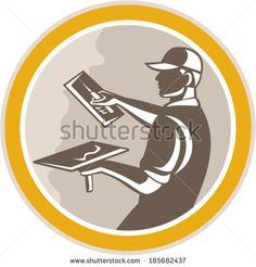 Illustration of a plasterer masonry tradesman construction worker with trowel done in retro woodcut style set inside circle on isolated background.