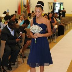 Navy Blue, One Shouldered Prom Dress One shouldered with Floral accents, Knee Legnth BariJay Dresses Wedding