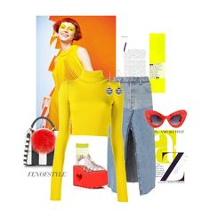 """#Yellow#♡"" by fenofstyle on Polyvore featuring Chanel, Les Petits Joueurs, RE/DONE, Jacquemus, Sugarbaby, Jeremy Scott, ASOS and Kim Rogers"