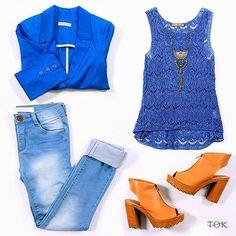 Tudo azul no look de hoje, e para quebrar nada melhor que a sandália camelo de salto tratorado. Gostaram? #universotok