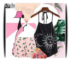 """""""Shein contest: Halter Print Top"""" by amerlinakasumovic ❤ liked on Polyvore featuring Viktor & Rolf, American Retro and Havaianas"""