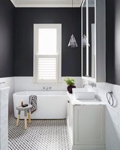Modern and Breathtaking Black and White Bathroom Interior Design Ideas Laundry In Bathroom, Bathroom Renos, Bathroom Interior, Gray Bathrooms, Bathroom Renovations, Bathroom Black, Family Bathroom, Bathroom Vanities, Bathroom Small